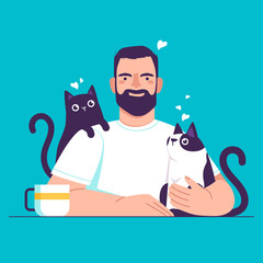 Man at the table with cats