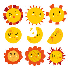sun and moon vector collection design