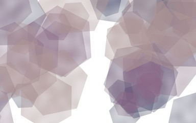 Multicolored translucent hexagons on white background. Pink tones. 3D illustration
