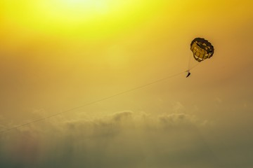 Paraglider in the summer sky