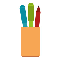 pencil holders office icons vector illustration design