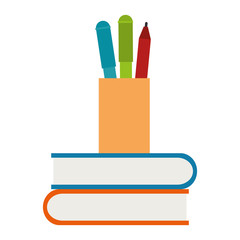 pencil holders with books vector illustration design