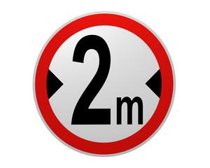 deutsches Verkehrsschild: tatsächliche Breite, 2 m von vorne. 2d render