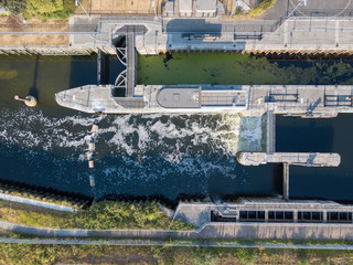 Industrial lock on the canal river view from above