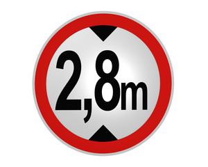 deutsches Verkehrsschild: tatsächliche Höhe, 2,8m von vorne. 2d render