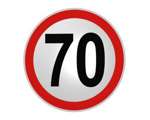 Deutsches Verkehrszeichen: Geschwindigkeitsbegrenzung 70 km/h, vorderansicht, 2d render