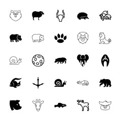 Collection of 25 wildlife filled and outline icons