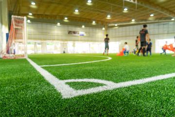 Corner Line of an indoor football soccer training field