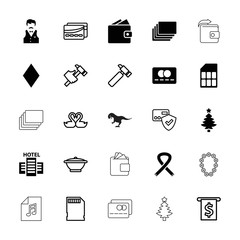 Collection of 25 card filled and outline icons