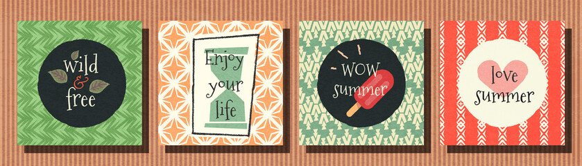 Vector banner summer collection on seamless pattern background.