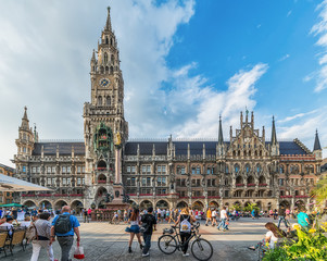 Munich, Germany June 09, 2018: New Town Hall at Marienplatz Square in Munich, Bavaria, Germany