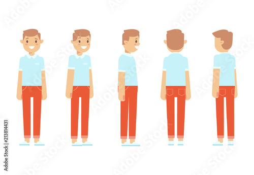 young man for animation front side back 3 4 view character