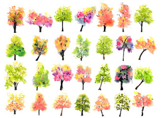 Collection of colorful trees on white background, watercolor hand painted, tree art