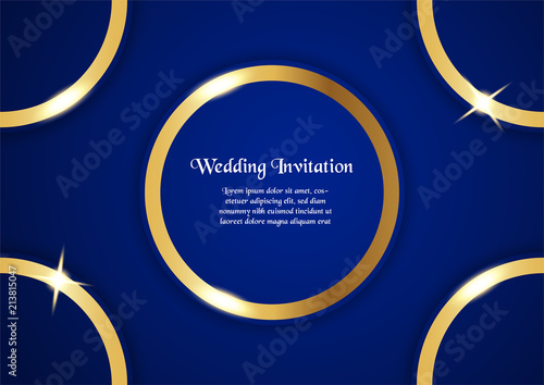 abstract blue background in premium concept with golden border