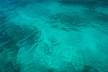 Closeup sea water surface, Blue water surface in swimming pool
