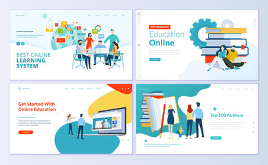 Set of web page design templates for e-learning, online education, e-book. Modern vector illustration concepts for website and mobile website development.  Fotoväggar
