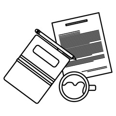pencil write with documents and coffee cup vector illustration design