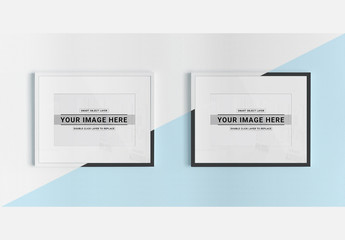 Two White Frames on a Textured Wall Mockup