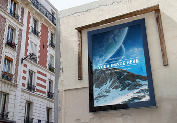 Outdoor Billboard on a Building Mockup
