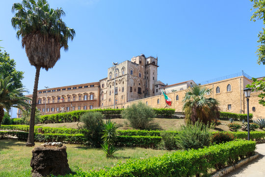 Palazzo dei Normanni (Palace of Normans) or Royal Palace of Palermo, seat of Kings of Sicily during Norman domination and served afterwards as main seat of power for subsequent rulers of Sicily