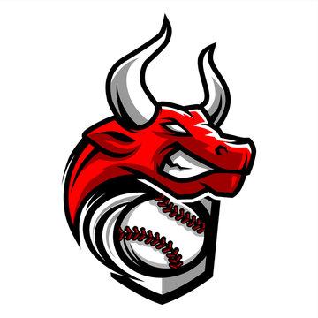 Baseball Bull Team Logo