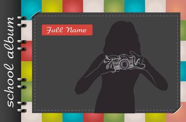 template of a school album  photograph