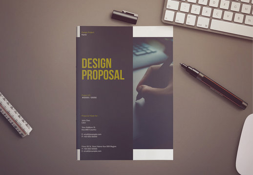 White and Dark Yellow Proposal Layout