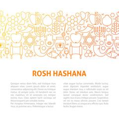 Rosh Hashana Line Design Template