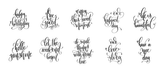 set of 10 hand lettering quotes design