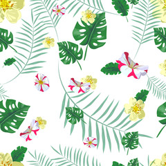 vector seamless beautiful artistic tropical pattern with exotic forest. Colorful original stylish floral print background, bright colors on white background. flowers