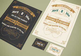 Vintage-Style Illustrated Wedding Invitation and RSVP Card Layout Set