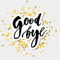 Goodbye Lettering Calligraphy Phrase Bye Vector Gold