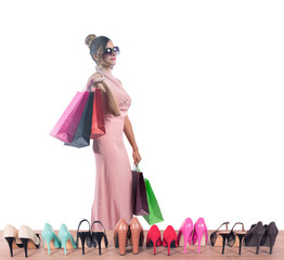 Girl full of bags does shopping in a store