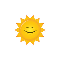sun smile vector icon, character design yellow color isolated white background