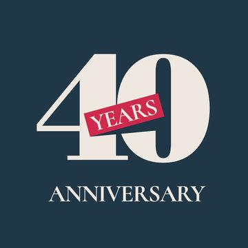 40 years anniversary celebration vector icon, logo