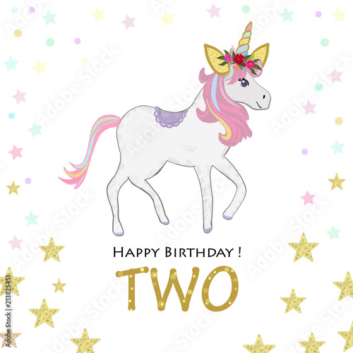 Second Birthday Greeting Two Magical Unicorn Birthday Invitation