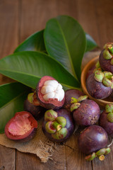 Mangosteens Queen of fruits on wooden table