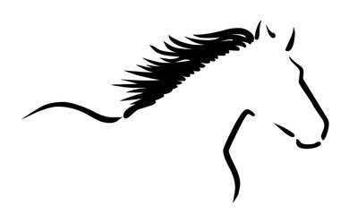 Stilisierte Zeichnung: Pferd mit wehender Mähne / schwarz-weiß, Vektor