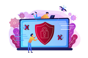 A man before laptop with shield and lock on the screen. Anti virus software, anti-malware, spyware, trojan, adware as internet security concept. Violet palette. Vector illustration on background