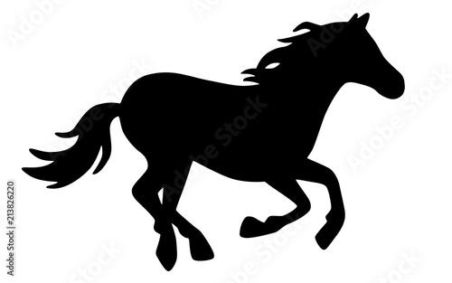 Galoppierendes Pferd Vektor Schwarz Weiß Freigestellt