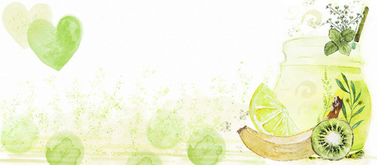 Watercolor green smoothie. Healthy life concept.