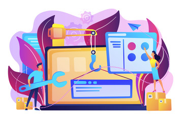 It professionals are creating web site on the laptop screen. Website development or web application, coding, designing for web browsers concept. Violet palette. Vector illustration on background
