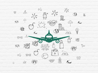 Tourism concept: Painted green Aircraft icon on White Brick wall background with  Hand Drawn Vacation Icons