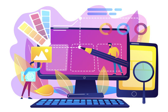 Designers are working on the desing of web page. Web design, User Interface UI and User Experience UX content organization. Web design development concept. Violet palette. Vector illustration