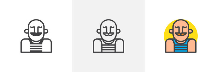 Awe Inspiring Strongman Circus Actor Icon Line Solid And Filled Outline Download Free Architecture Designs Licukmadebymaigaardcom