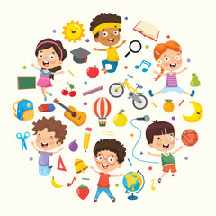 Vector Illustration Collection of Kids and Objects
