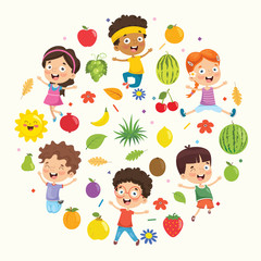 Vector Illustration Collection of Kids and Fruits