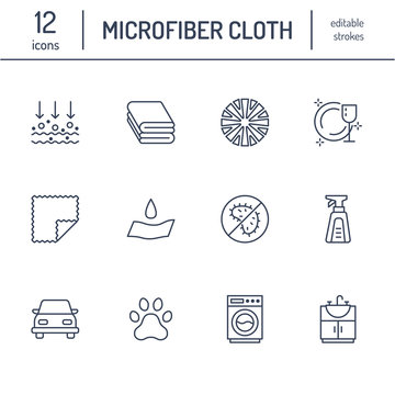 Microfiber cloth properties flat line icons. Absorbing material, dust cleaning, washable, antibacterial, clean detergent illustrations. Thin signs for napkin package. Editable Strokes.