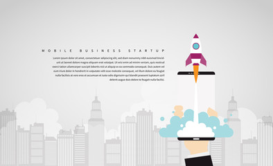 Wall Mural - Mobile Business Startup