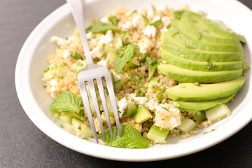 quinoa salad with feta and avocado